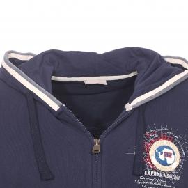 Sweat zippé à capuche Bochil Hood Napapijri en coton bleu marine brodé