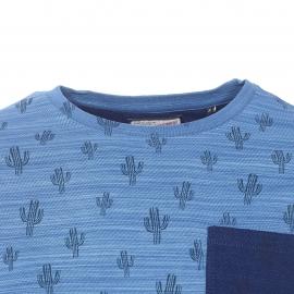 Tee-shirt col rond Petrol Industries en coton bleu indigo flammé à motifs cactus