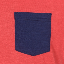 Tee-shirt col rond Petrol Industries en coton rouge flammé à poche poitrine bleu marine