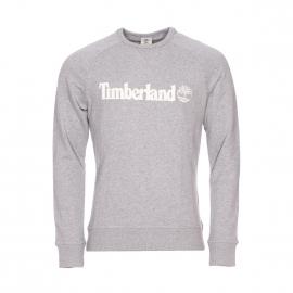 Sweat col rond Timberland en coton gris chiné brodé