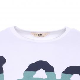 Tee-shirt col rond Lee en coton blanc floqué