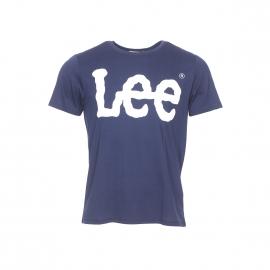 Tee-shirt col rond Lee en coton bleu marine floqué en blanc