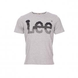 Tee-shirt col rond Lee en coton gris chiné floqué en noir et gris