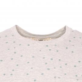 Tee-shirt col rond Lee en coton mélangé écru chiné à motifs géométriques