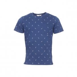 Tee-shirt col rond Lee en coton bleu indigo à motifs géométriques
