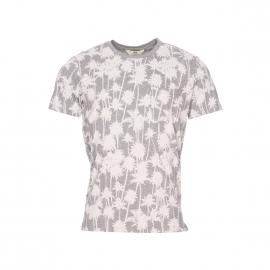 Tee-shirt col rond Lee gris chiné à motifs palmiers blancs
