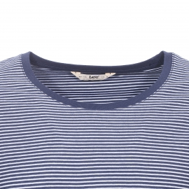 Tee-shirt col rond Lee en coton bleu indigo à rayures blanches