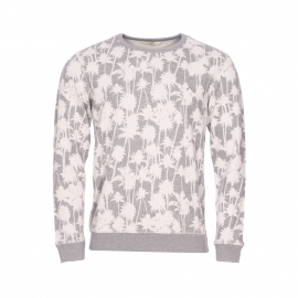 Sweat col rond Lee gris chiné à motifs palmiers blancs