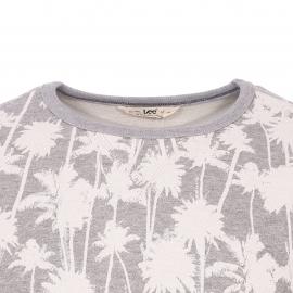 Sweat col rond Lee gris chiné à motifs palmiers blancs