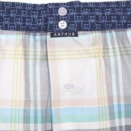 Caleçon club Arthur à carreaux multicolores pastel et ceinture bleu marine à motifs ours