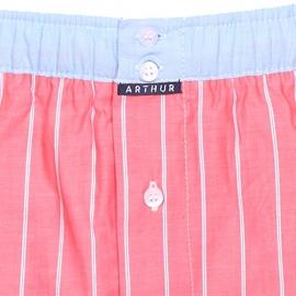 Caleçon club Arthur rouge pâle à fines rayures blanches et ceinture bleu jean