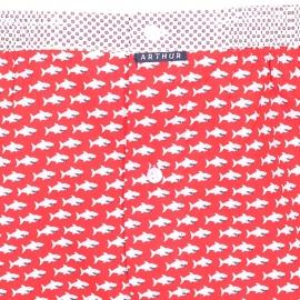 Caleçon coupe française Arthur rouge à motifs requins blancs