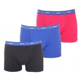 Lot de 3 boxers Dim en coton stretch respirant rose fuchsia, bleu et noir