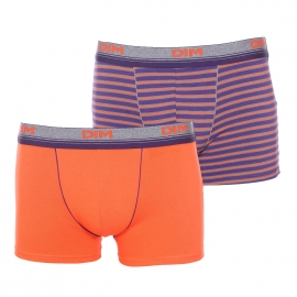 Lot de 2 boxers Dim Spirit en coton stretch : 1 modèle orange et 1 modèle à rayures violettes, orange et grises