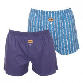 Lot de 2 caleçons Dim en coton : 1 modèle bleu marine, 1 modèle bleu turquoise à rayures et motifs bleu marine et blancs