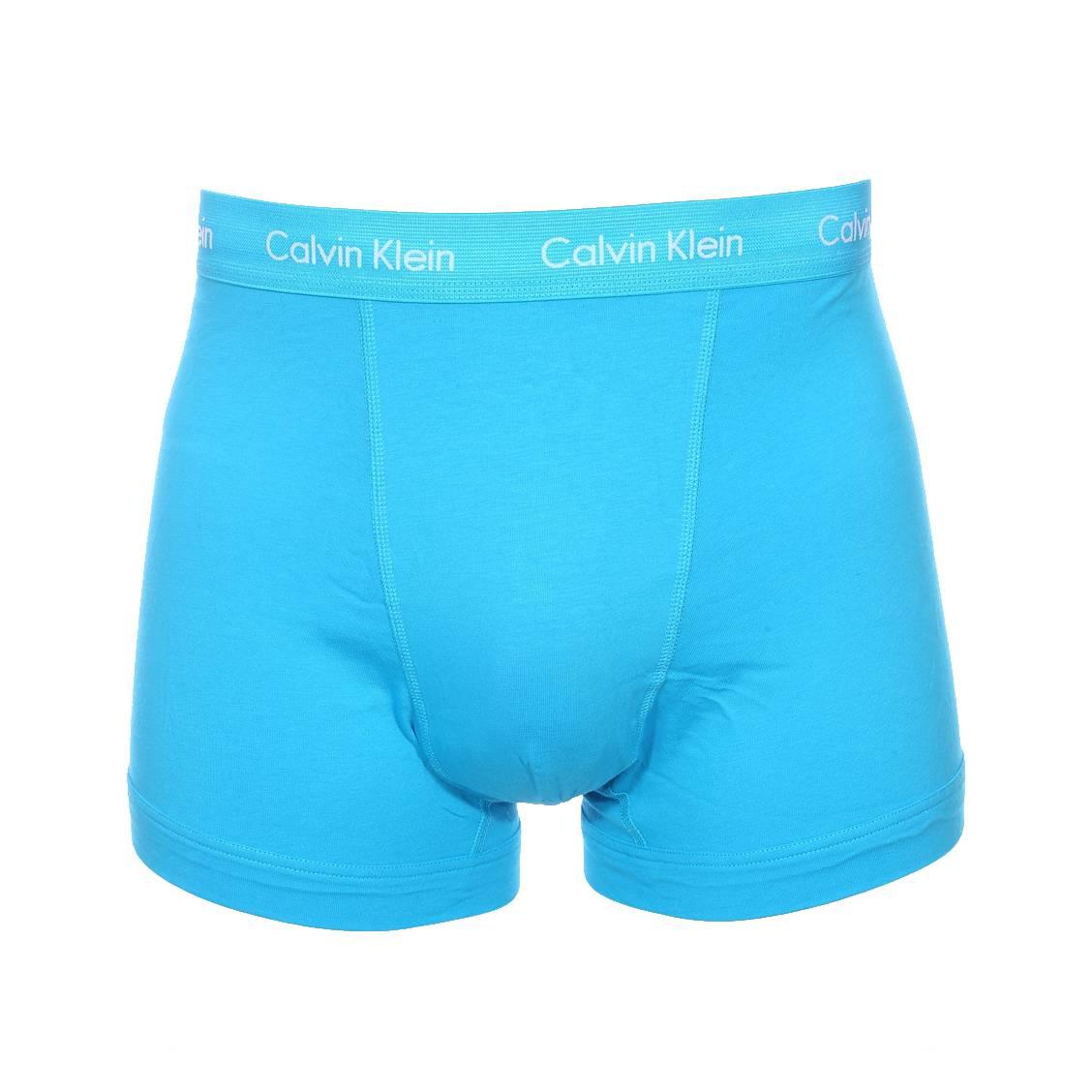lot de 3 boxers calvin klein en coton stretch bleu lavande bleu azur et bleu turquoise rue. Black Bedroom Furniture Sets. Home Design Ideas