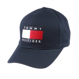 casquette tommy hilfiger en coton bleu marine brod e du logo. Black Bedroom Furniture Sets. Home Design Ideas