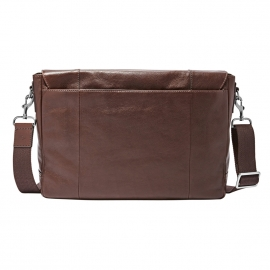 Porte-documents/ ordinateur 15 pouces Graham Fossil en cuir marron, style cartable