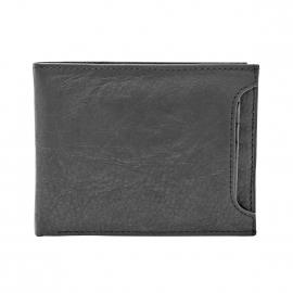 Portefeuille italien Ingram Fossil en cuir texturé noir à porte-cartes amovible