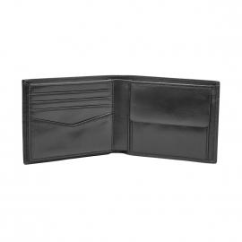 Portefeuille italien Ryan Fossil en cuir brillant noir à 3 volets