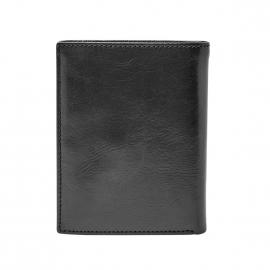 Portefeuille européen Ryan Fossil en cuir brillant noir à 3 volets