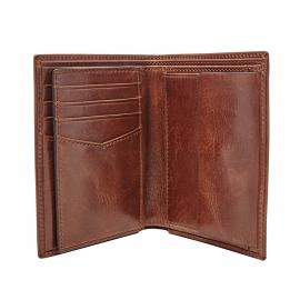 Portefeuille européen Ryan Fossil en cuir brillant marron à 3 volets