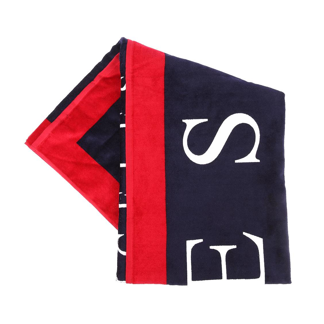 serviette de plage guess bleu marine bordure rouge rue des hommes. Black Bedroom Furniture Sets. Home Design Ideas