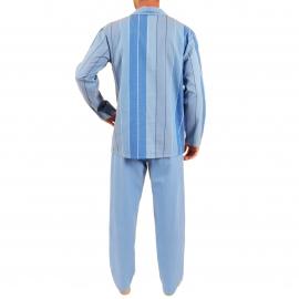 Pyjama long Verone Christian Cane en coton : veste boutonnée à rayures bleues et pantalon bleu ardoise