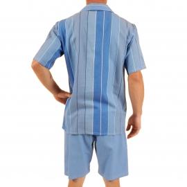 Pyjama court Verone Christian Cane en coton : veste manches courtes boutonnée à rayures bleues et bermuda bleu ardoise