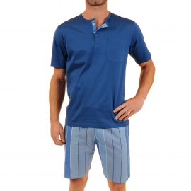 Pyjama court Verone Christian Cane en coton : tee-shirt col tunisien bleu indigo et bermuda bleu ardoise