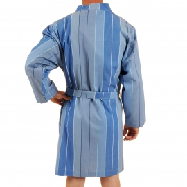 Kimono court Verone Christian Cane en coton à rayures bleu ardoise, bleu ciel, bleu indigo