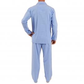 Pyjama long Verner Christian Cane en coton : veste boutonnée et pantalon bleu indigo à carreaux blancs