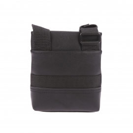 Petite sacoche plate Calvin Klein Jeans Bastian en simili cuir noir