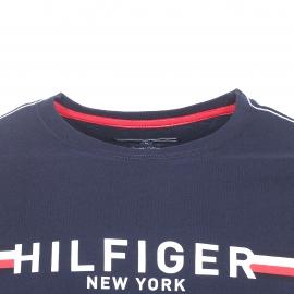 Tee-shirt col rond Tommy Hilfiger en coton biologique bleu marine floqué