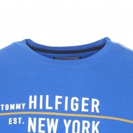 Tee-shirt col rond Tommy Hilfiger en coton bleu floqué en blanc