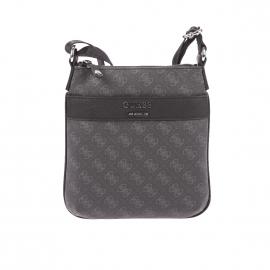 Sacoche plate Guess en simili cuir texturé anthracite monogrammé du logo en gris
