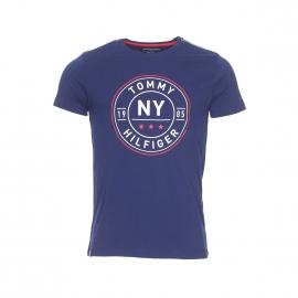 Tee-shirt col rond Tommy Hilfiger en coton bleu marine floqué en rouge et crème