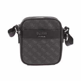 Sacoche Guess en simili cuir texturé noir monogrammé du logo en gris
