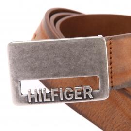 Ceinture Hilfiger denim en cuir vieilli marron à boucle semi-pleine patinée