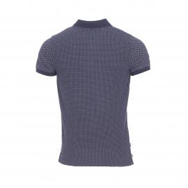 Polo cintré Tommy Hilfiger en coton stretch bleu marine à motifs blancs