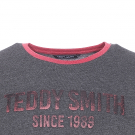 Tee-shirt col rond Tristan Teddy Smith gris anthracite chiné floqué