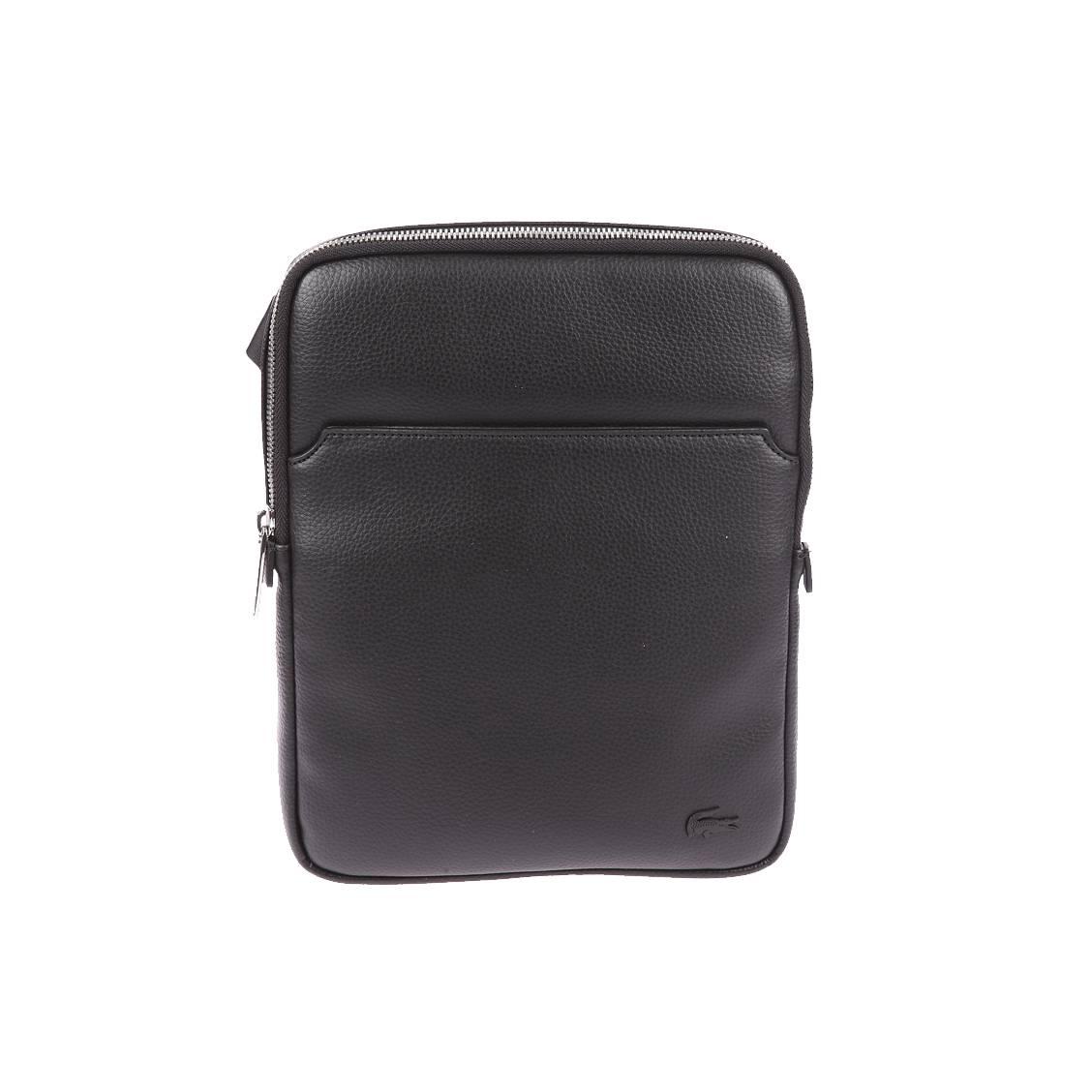 Sacoche plate Lacoste en simili cuir texturé noir   Rue Des Hommes 17a74351081e