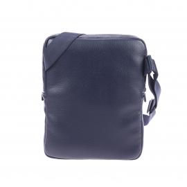 Petite sacoche plate Lacoste en simili cuir texturé bleu marine