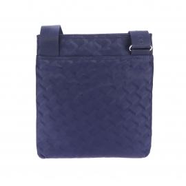 Sacoche plate Lacoste en toile bleu nuit à motifs graphiques effet 3D ton sur ton