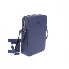 Sacoche Lacoste en refente de cuir bleu marine texturée de motifs