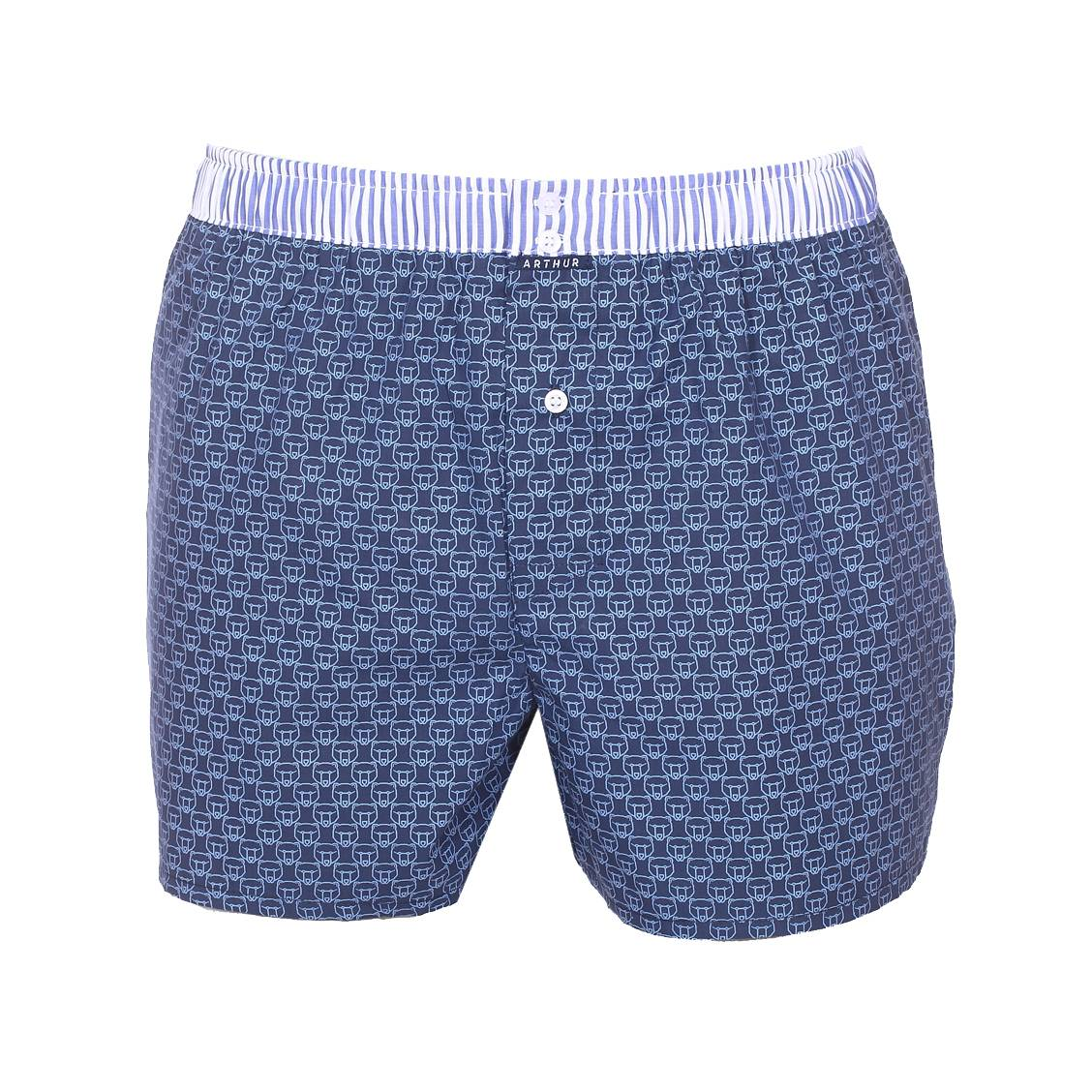 Caleçon club Arthur bleu marine à motifs ours bleu clair et ceinture à rayures