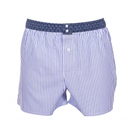 Caleçon club Arthur à rayures blanches et bleu denim ceinture bleu marine à motifs ours bleu clair