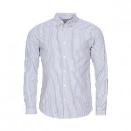 Chemise cintrée Selected en coton à rayures bleues et blanches