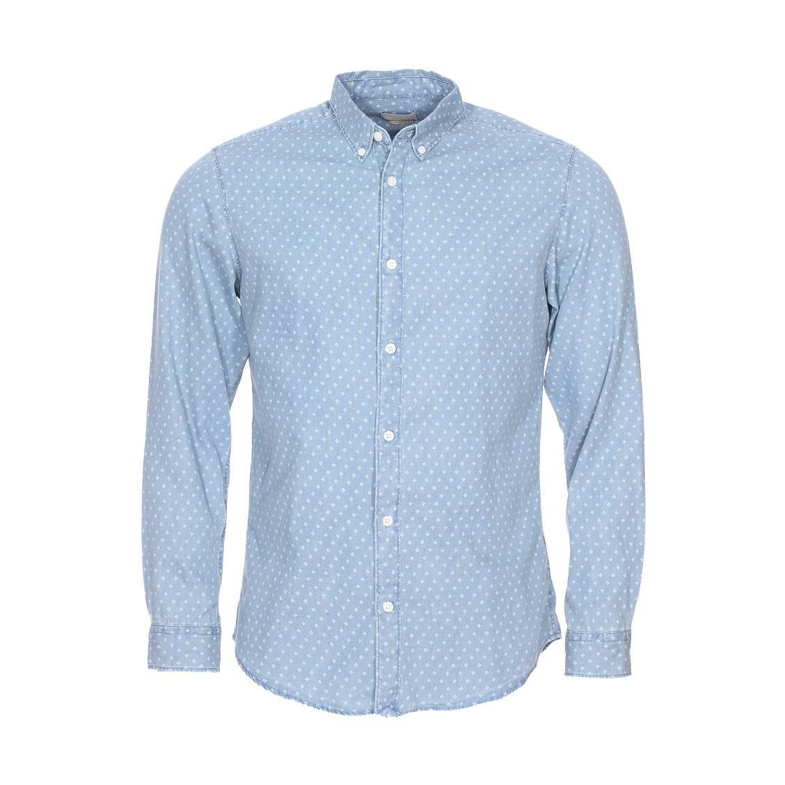 Chemise cintrée  bleu jean à motifs blancs