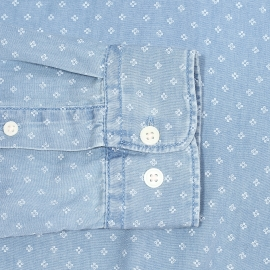 Chemise cintrée Selected bleu jean à motifs blancs